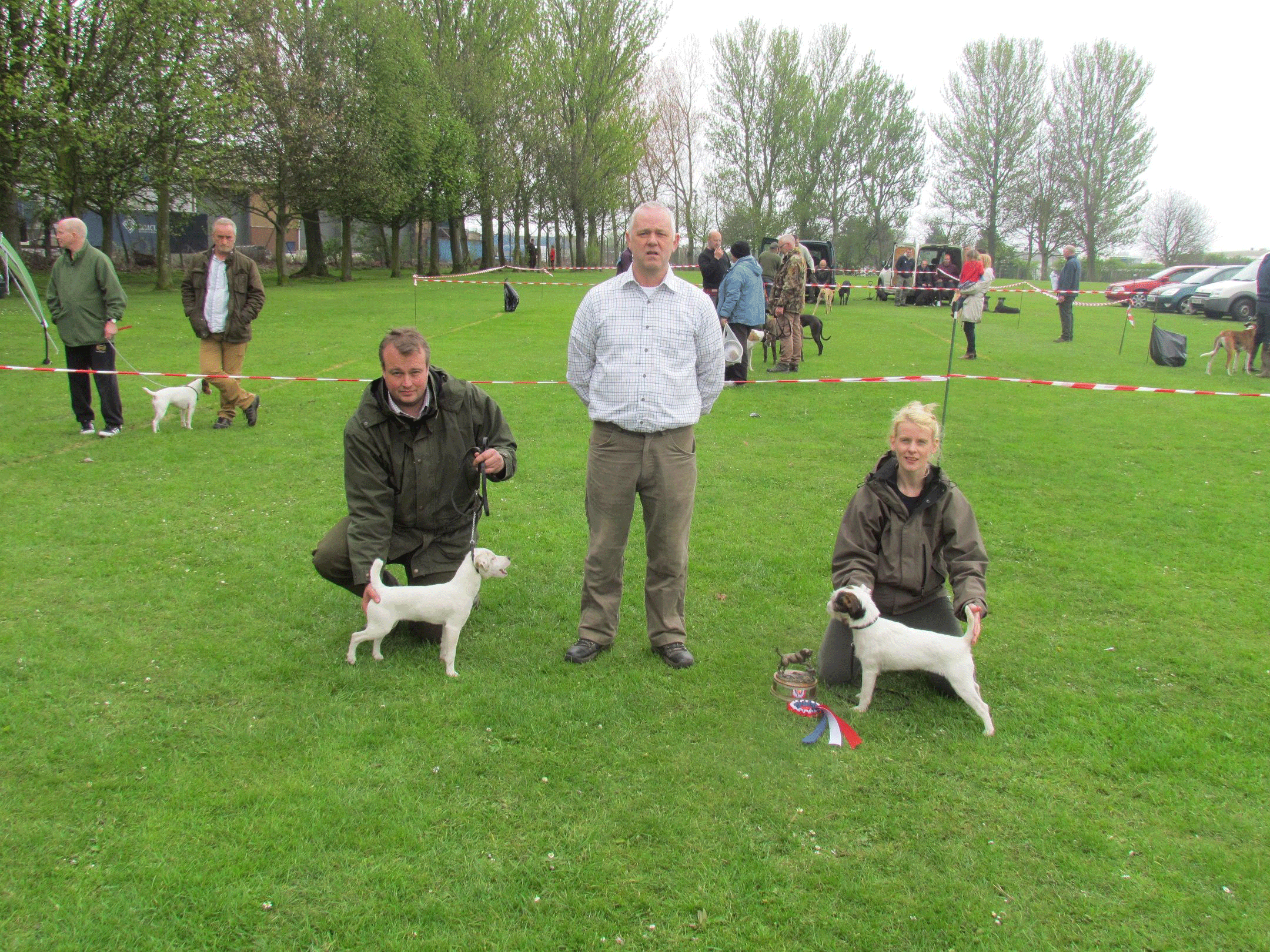 Reserve Best Puppy Richard Dunning with Jay and Champion Puppy Gillian Young with Roz