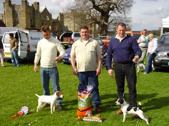Best Jack Russell (right) and Reserve | Best Jack Russell - Bicester Tucker owned by Mr Kevin Allen (right) and Reserve - Benick Tilly owned by Mr Nick Hazeltine. Judge - Mr Christoph Hesemann (Germany)