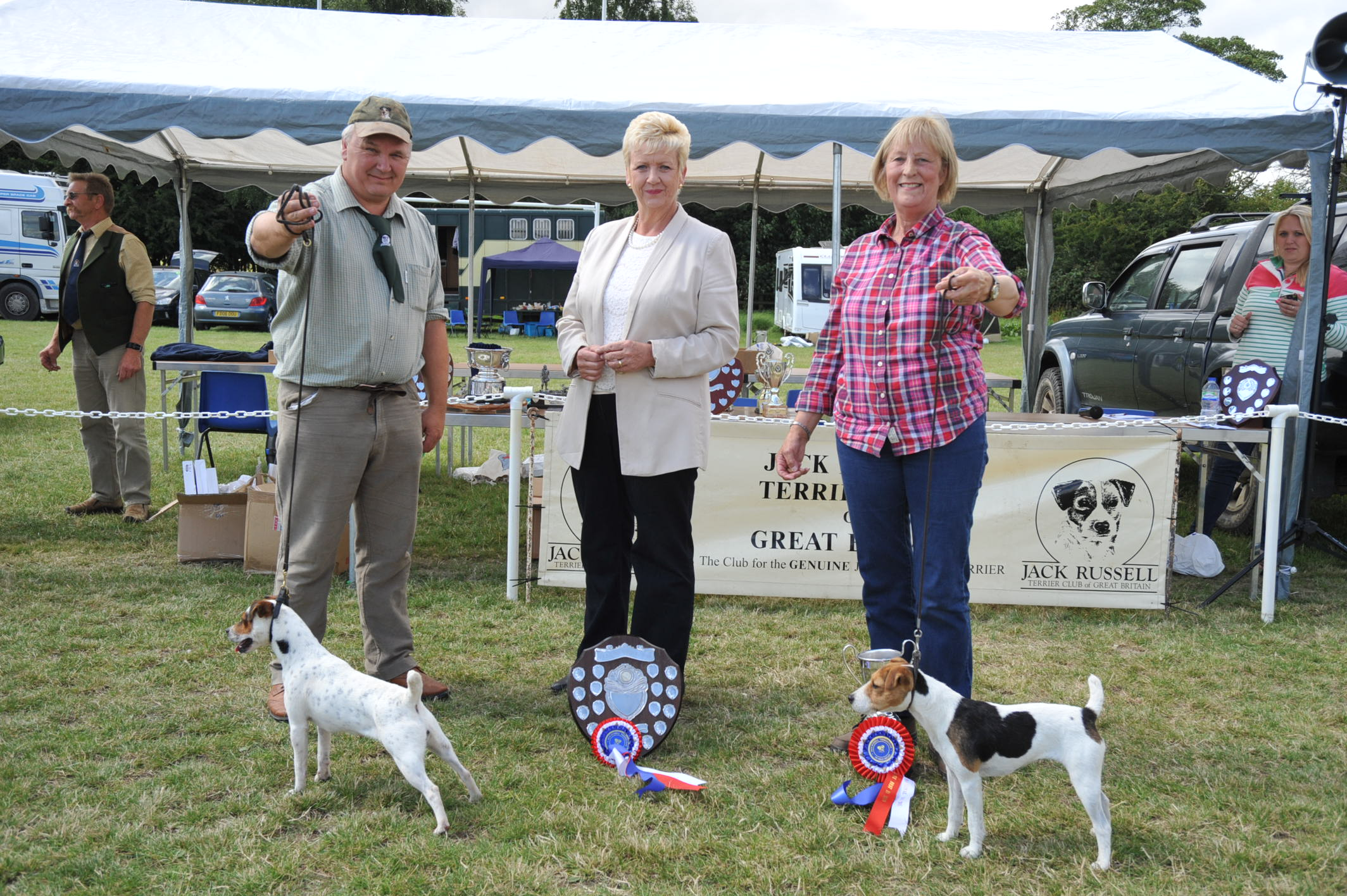 """Class 18. Best 10""""-12.5"""" Jack Russell Terrier Cadella Ida - Jane Massarella   Reserve Friarmoor Ellie of Rushill - Martyn & Liz Hulme"""